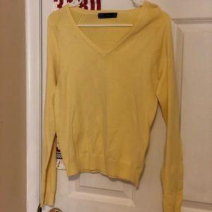 Zara Yellow V-neck Sweater